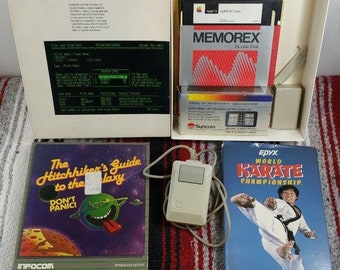 Vintage APPLE II Computer Lot Hitchiker's Guide to the Galaxy, Karate, Appleworks, Mouse Etc 80s 1980s