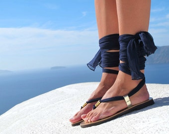 Greek sandals, Luxurious Sandals with silk scarf laces, Bridal sandals, Wedding flats. Fully Customizable. Sophia