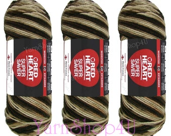 3 Pack! PLATOON, Red Heart Super Saver 5oz Brown variegated, 5oz acrylic yarn, Brown ombre yarn, Brown multi color worsted weight camo