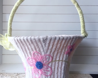 Vintage Chenille Floral White Green Basket Easter Holiday Decor