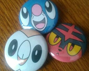Pokemon Pin Set - Alola Starters!  Set of 3