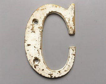 Vintage Letter C, Decorative Letter, Brass Display Letter, Shabby Chic Letter, Industrial Letter A with Chippy Paint