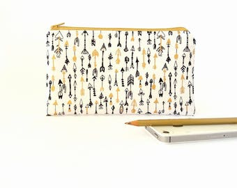 Zipper pouch, Arrow pouch, Small makeup bag, Gold Makeup pouch, Pencil pouch, Zipper wallet, Travel accessories, Gift for her, Wallet purse