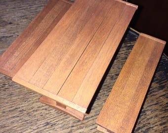 Vintage Dollhouse Solid Wood Picnic Table 1950s Super Realistic Design