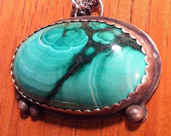 Sterling Silver Pendant with Oval Malachite Cabachon