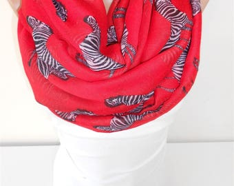 Zebra Scarf Red Scarf Shawl Animal Scarf Infinity Scarf  Winter Scarf Fashion Accessories  Gift Gift For Women Gift For Her Gift For Mom