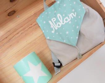 sac a dos enfant personnalisé mint et gris à étoiles idée cadeau  enfant bébé