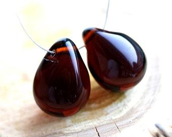 Very dark Brown Topaz Teardrops, czech glass, large Briolettes, beads pair - 15x20mm - 2Pc - DP35