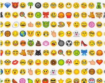 OMG, LOL Emoji Digitally Printed Fabric by Robert Kaufman Fabrics