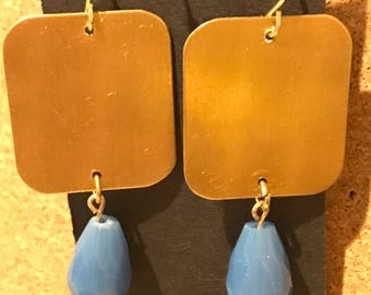 Brass and periwinkle blue crystal dangle earrings