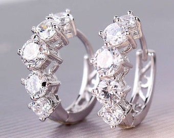 Sterling Silver Cz Huggy Earrings