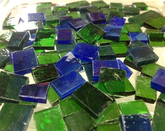 100 EMERALD & SAPPHIRE Small Pieces Stained Glass Mosaic Tile B32