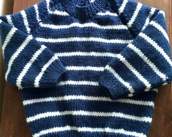Hand knitted baby jumper navy blue white stripes sweater striped stripy nautical classic sailor Breton French 12 months upwards