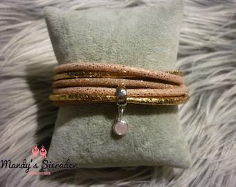 Wrap bracelet wrapbracelet rose gold facet leather 2x to wrist
