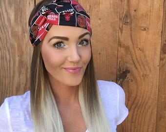 Chicago Bulls Turban Headband || Basketball Illinois Hair Band Accessory Cotton Workout Yoga Fashion Red Black White Scarf Girl