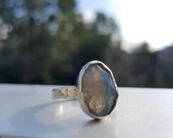 Labradorite ring, sterling silver ring