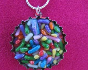 Rainbow Sprinkles Bottlecap Necklace