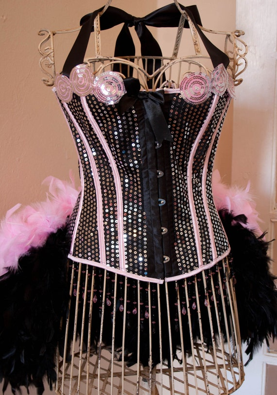 PRINCESS Pink Sequins Steampunk Corset Burlesque Costume outfit for Halloween