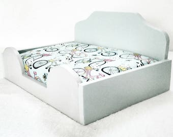 Small Light Blue Dog Bed with Mattress