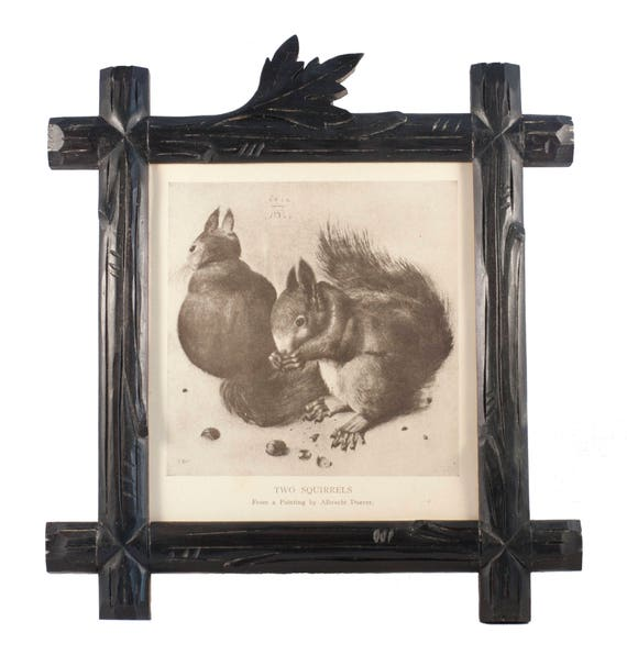 Hand-Carved Black Forest Frame with Vintage Squirrel Print