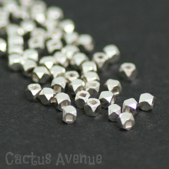 silver bali sterling bmb nugget metal faceted beads style