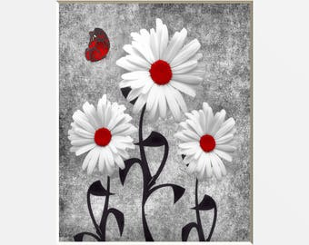 Red Daisy Flowers Butterfly Wall Decor, Red Wall Pictures, Red Bedroom Bathroom Home Decor Matted Picture