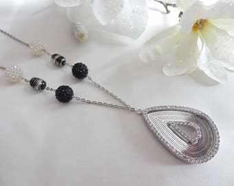 Silver rhinestone drop necklace pendant necklace