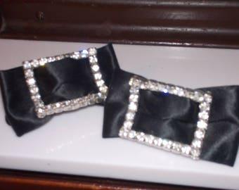 vintage rhinestone bow shoe clips
