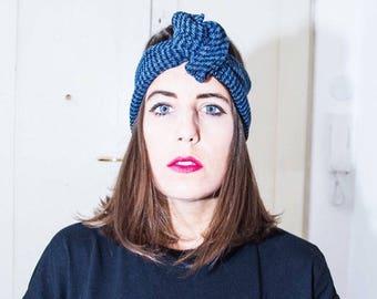 Headband/headband/piedpoule blue wool fabric turban Maxmara