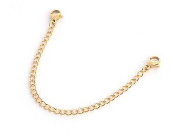 One Stainless Steel Gold Plated Necklace Bracelet Extender, 12.5 cm, Jewelry Making Supplies, Extender,  G1430