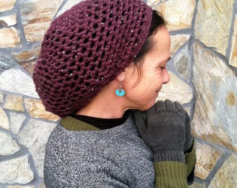 DREAD HAT Handmade Crochet Hat : Hippie Hat Boho Hat Rasta Hat Dread Tam Dreadlocks Washable Acrylic *Plum Fleck* s/m