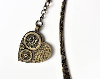 "Key Steampunk Bookmark or page marker ""Love Steampunk"""