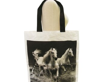 Hores Bag Horse Animal Tote Bag Screen Print Handmade