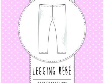 Pack 3 sizes - 3 / 4 / 5 years - pattern baby leggings