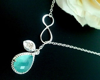 Infinity Necklace, Pesonalized Necklace, Personalized Jewelry,Lariat, Bridal Jewelry,turquoise necklace, Chirstmas GIFT