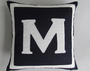 Mid night blue monogrammed pillow . Pasanaliaiz monogram.  Midnight blue monogram. Custom  made. Choce of your letter.  22inch.