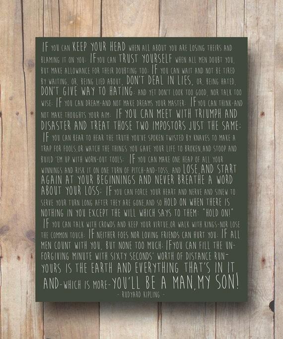 Rudyard Kipling If Printable Quote Dorm Wall Art Quote