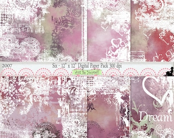 12 x 12 inch Shabby Pink Purple Brown Green Painted Instant Download Scrapbook Background Art Papers Set of 6 JPEG Commercial Use 2007
