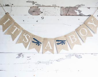 Plane Baby Shower Decor Its A Boy Airplane Banner Vintage Decoration
