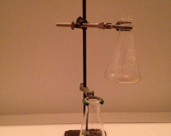 vintage iron stand with erlenmeyer flasks  from 1960s chemistry lab industrial home decor