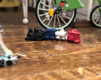 Miniature Toy Train, Metal Painted MIni Train, Dollhouse Miniature, 1:12 Scale, Dollhouse Accessory, Decor, Toys, Crafts