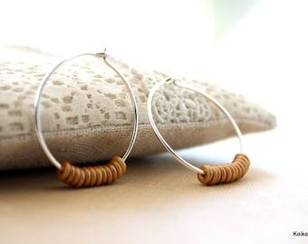 Beaded Hoop Earrings, Beaded Hoops, Sterling Silver Hoop Earrings, Gold Earrings