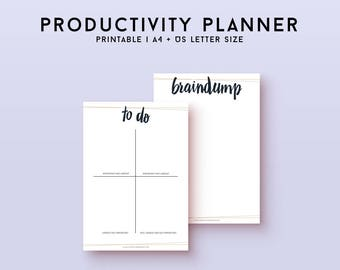 Printable productivity planner, printable to do list, goal planner journal, bullet journal to do printable planner inserts, instant download