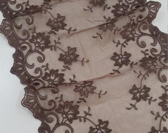 Brown lace trim, French Lace trim, Chantilly Lace, Bridal lace, Wedding Lace Veil lace Eyelash lace Scalloped lace Lingerie Lace BJL9007