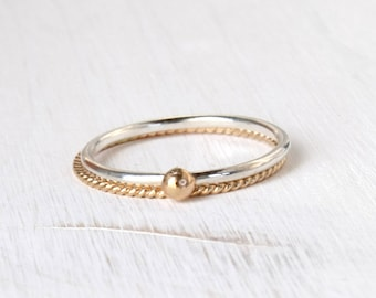 Gold and silver stackable rings / solid yellow gold rope ring and shiny silver ring / minimal skinny stackable rings modern Handmade