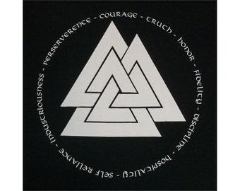 Valknut Asatru Noble Virtues Viking Rune Heathen T-Shirt WH