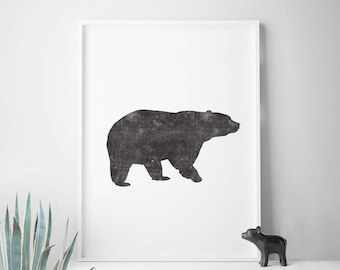 Rustic decor, bear print, wilderness art, woodlands nursery decor, bear art, minimalist wall art, cabin decor 50x70 large print