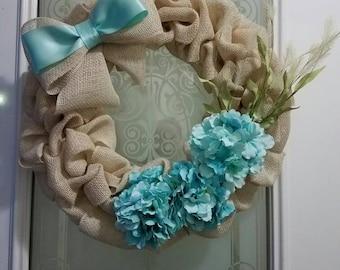 Light Blue and Cream Burlap Wreath