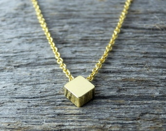 Shiny Tiny Gold Cube Necklace. Dainty Gold Plated Chain. Simple Necklace. Minimalist Jewelry. Everyday Necklace. Delicate.