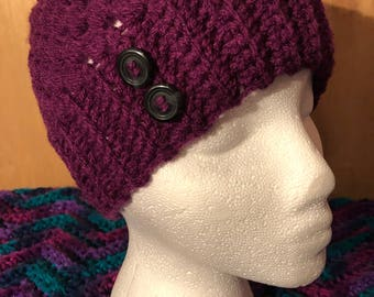 Crocheted Messy Bun Beanie - VIOLET/PLUM-  SEAMLESS